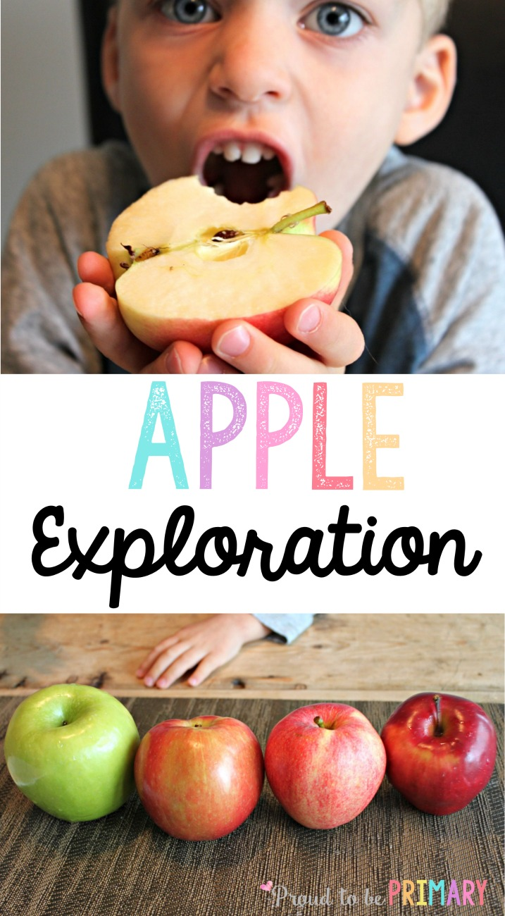 Fun apple activities for preschool and Kindergarten kids using our 5 senses, simple science, books, and more. The taste test activities is a MUST TRY! Read now to grab your FREE apple exploration printable kit! #fallscience #scienceforkids #fallactivities #appleactivities #applescience