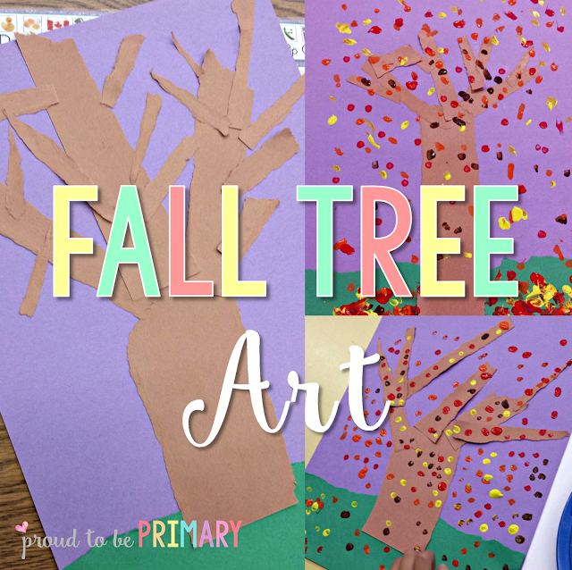 Fall tree art lesson for primary children and elementary teachers using torn paper and painting dots with Q-tips based on observations of autumn changes. #fallart #fallcrafts #artforkids #craftsforkids #autumnart #kidart