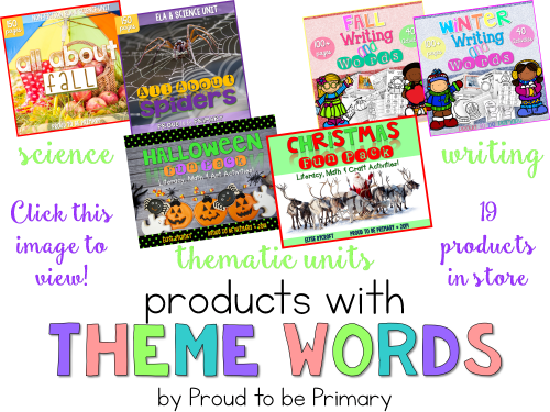 Building Student Vocabulary with Theme Words: theme word products