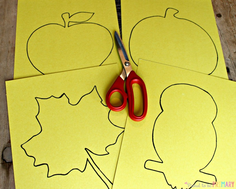 Fall Art Projects: apple leaf pumpkin owl cutouts