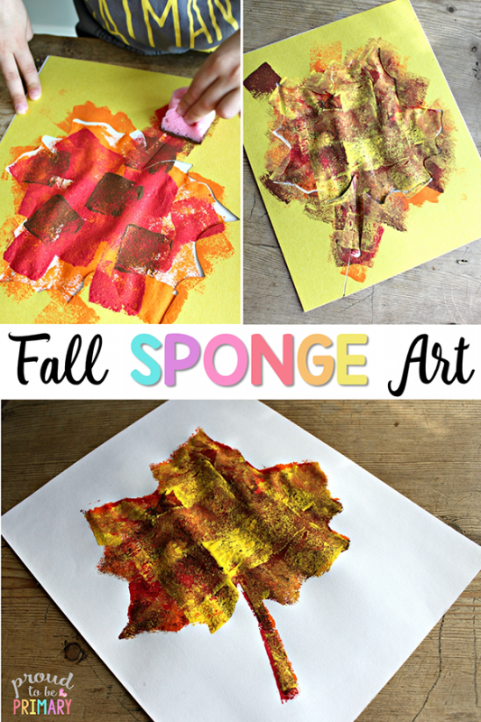 fall art projects - sponge painting