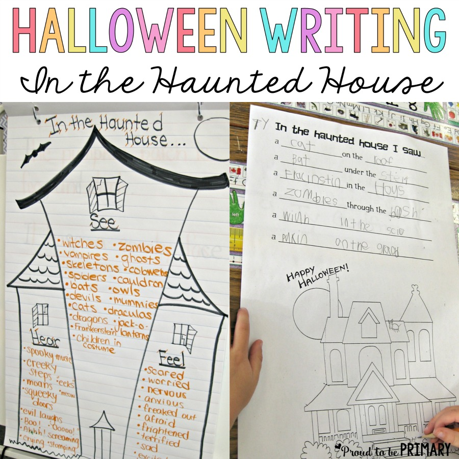 "Check out this Halloween haunted house writing lesson for primary teachers called ""In the Haunted House""! Kids will have fun creating spooky sentences, learning Halloween vocabulary using their senses and positional words, and will get creative with this activity."