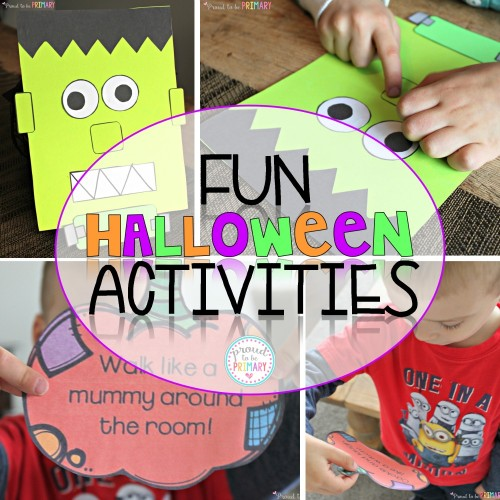 Fun Halloween Activities by Proud to be Primary. Frankenbuddy and Action Pumpkins game included.