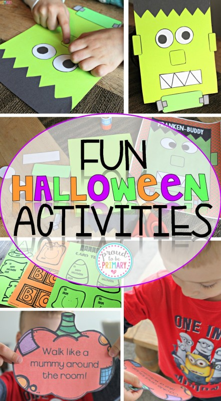 Check out the Fun Halloween Activities for Kids, including a Franken-buddy craft and Action Pumpkins game. Head there NOW for your FREE creative writing template to match Frankenstein! #halloween #halloweenactivities #frakenstein #teacherfreebie