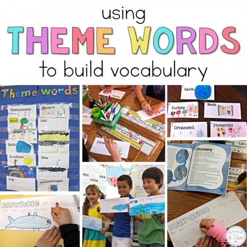 building student vocabulary with theme word cards
