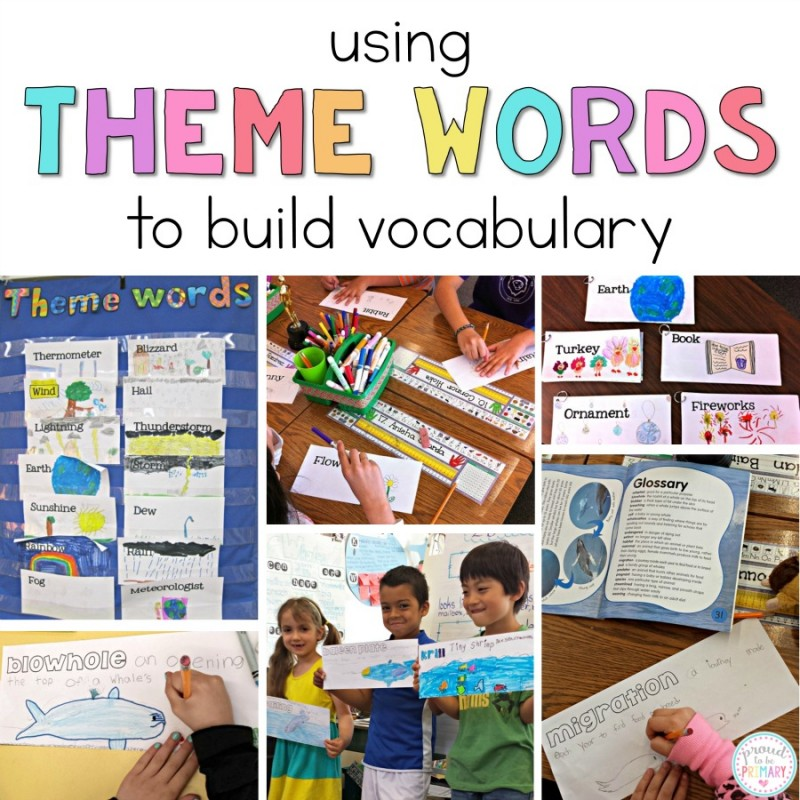 Classroom teachers can help students build their vocabulary using this vocabulary building activity. Theme word cards help children learn about any topic, theme, or unit by having them locate the definitions in non-fiction books and drawing what that word looks like. #vocabulary #literacy #teachingactivities #earlyliteracy #teachingwriting