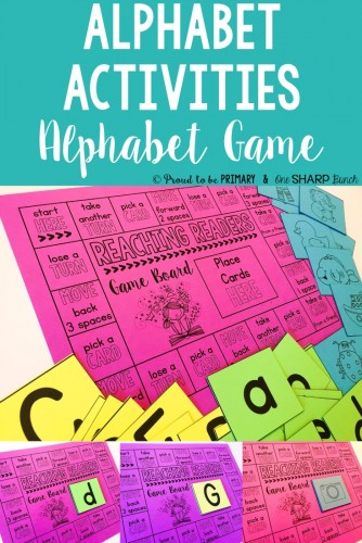 Alphabet activities for small groups by Proud to be Primary. Alphabet board games are tons of fun!