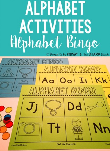 Alphabet activities for small groups by Proud to be Primary. Have fun with the alphabet with bingo!
