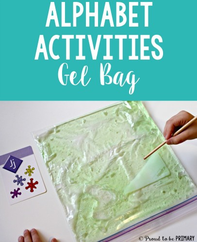 Alphabet activities for small groups by Proud to be Primary. Using a gel bag for practice letter formation.