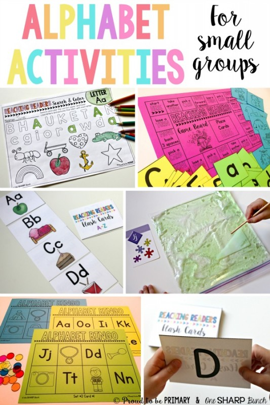Alphabet activities for preschool and Kindergarten kids. The teaching ideas are for small group guided reading, literacy centers, or classroom practice. Activities included are alphabet videos, flash cards, bingo, and more. Grab the FREE printable resource today! #alphabet #alphabetactivities #phonics #preschool #kindergarten #letteractivities #literacycenters #guidedreading
