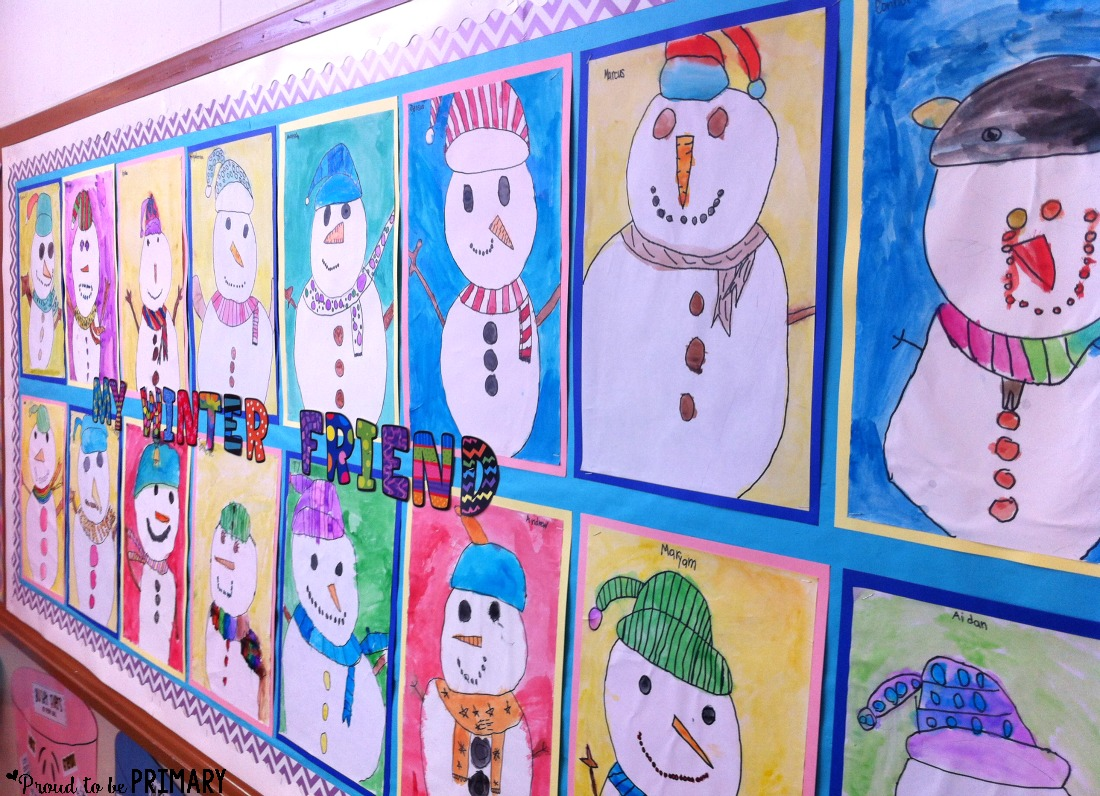 snowman drawing art activity - bulletin board display