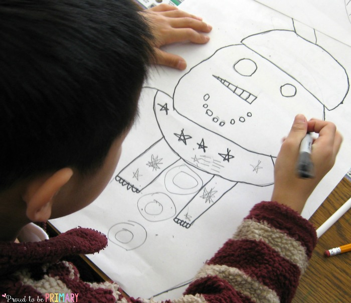 snowman drawing art activity - child drawing