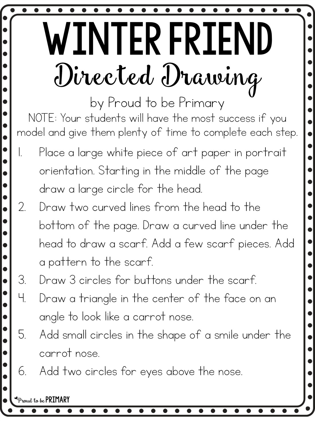 snowman drawing art activity - free printable instructions