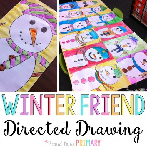 Do you love teaching directed drawings in your primary classroom? Kids will LOVE the winter friend snowman directed drawing art activity. Decorate your classroom walls with Frosty and his friends this winter!