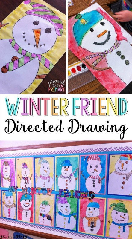 Do you love teaching directed drawings in your primary classroom? Kids will LOVE the winter friend snowman directed drawing art activity. Decorate your classroom walls with Frosty and his friends this winter! #snowmanart #snowman #artforkids #snowmanactivities #snowmancrafts #kidart #directeddrawing #winteractivities #winterart