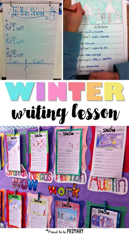 Teachers will enjoy teaching this snow poetry writing activity where children must come up with some funny ideas to write about winter. The post includes a FREE writing template. #teacherfreebie #winteractivities #winterwriting #writingforkids #kidwriting #poetryforkids