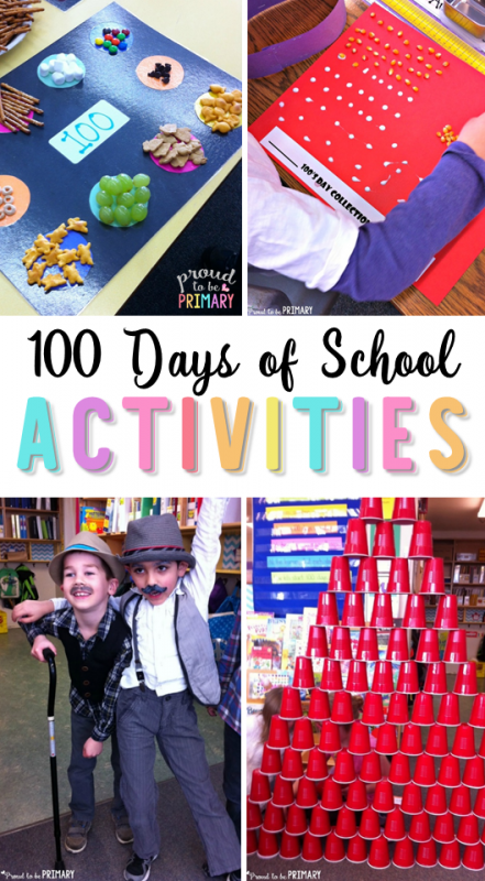 FUN learning activities to get children excited for the 100th Day of School. This post includes classroom ideas for teachers and centers for your celebration (dress old and create a 100 piece art display). #100daysofschool #100thday #mathactivities #mathforkids