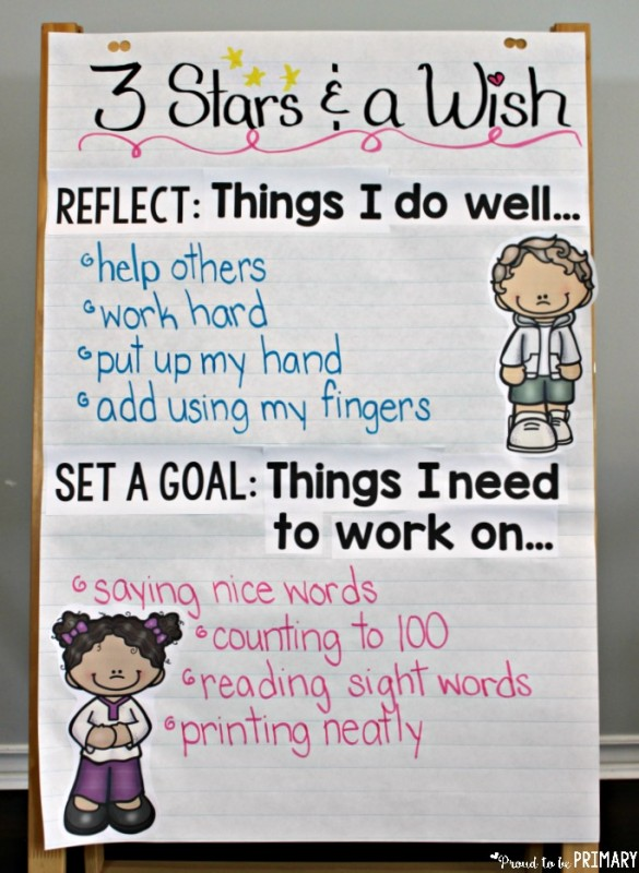 goal setting for kids - three stars and a wish