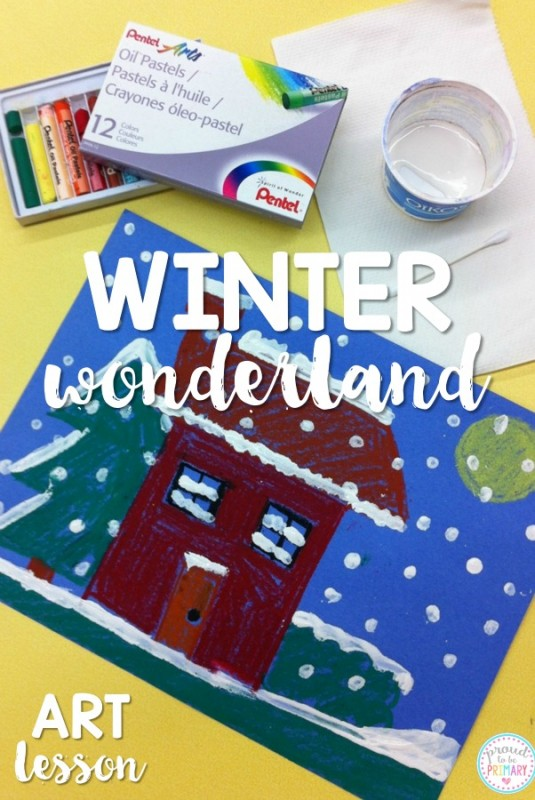 Looking for an easy winter art idea for the primary and Kindergarten children? This winter wonderland art project is simple to teach using oil pastels and paint. Create a beautiful winter display in your classroom today!