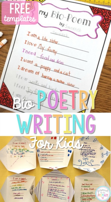 Do you have your poetry writing activities and lessons planned for this April and poetry month? Teach children how to write bio poems about themselves and create a unique writing display. Grab FREE poetry templates for kids to plan and write their own bio poems. #poetryforkids #poetry #poetrywriting #poemsforkids #poemoftheweek #teachingwriting #kidwriting