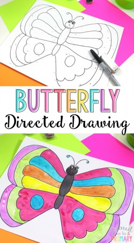 Are you searching for the perfect art activity for spring? This spring butterfly directed drawing provides teachers with an easy to teach, step-by-step lesson that Kindergarten and primary kids will love! {FREE directions included}