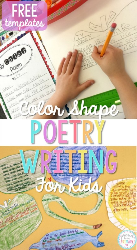 Do you need fun and engaging activities to get children writing their own poetry? April is poetry month and this color shape poetry writing lesson is the perfect lesson for teachers. It includes FREE templates for kids to plan and write their own poems. #poetryforkids #poetry #poetrywriting #poemsforkids #poemoftheweek #teachingwriting #kidwriting