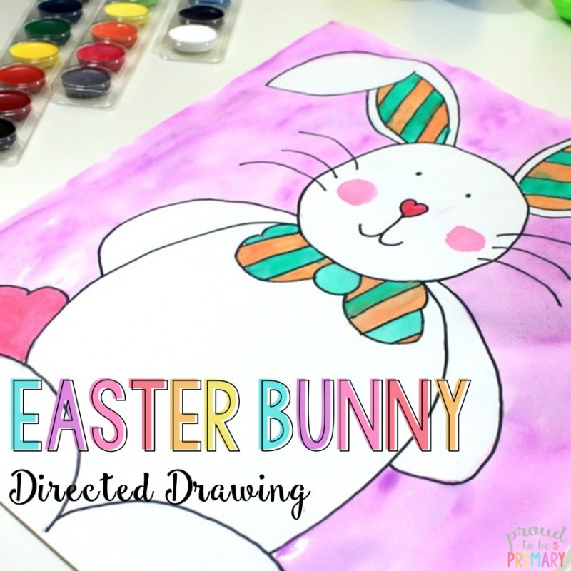 how to draw an easter bunny - directed drawing