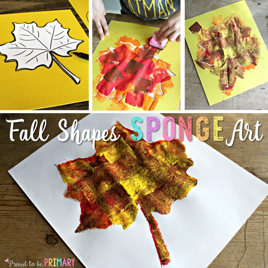 Check out this fall shapes sponge art hands-on activity for children with a few simple materials. Create a fantastic fall display from sponge painting different fall shapes! #fallart #fallcrafts #artforkids #craftsforkids