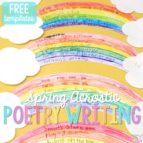 Do you have your lessons and activities planned for Poetry month this April? Teach children how to write acrostic poems this spring and create a rainbow writing display. CLICK to grab your FREE Spring activities for kids templates to plan and write their own spring acrostic poems.