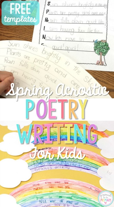 Do you have your lessons and activities planned for Poetry month in April? Teach children spring acrostic poetry writing and create a rainbow writing display. Grab FREE templates for kids to plan and write their own spring acrostic poems. #poetryforkids #poetry #poetrywriting #poemsforkids #poemoftheweek #teachingwriting #kidwriting