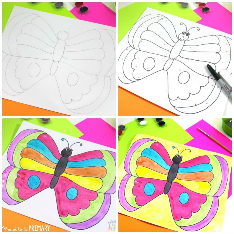 spring-themed activities for the classroom - butterfly directed drawing