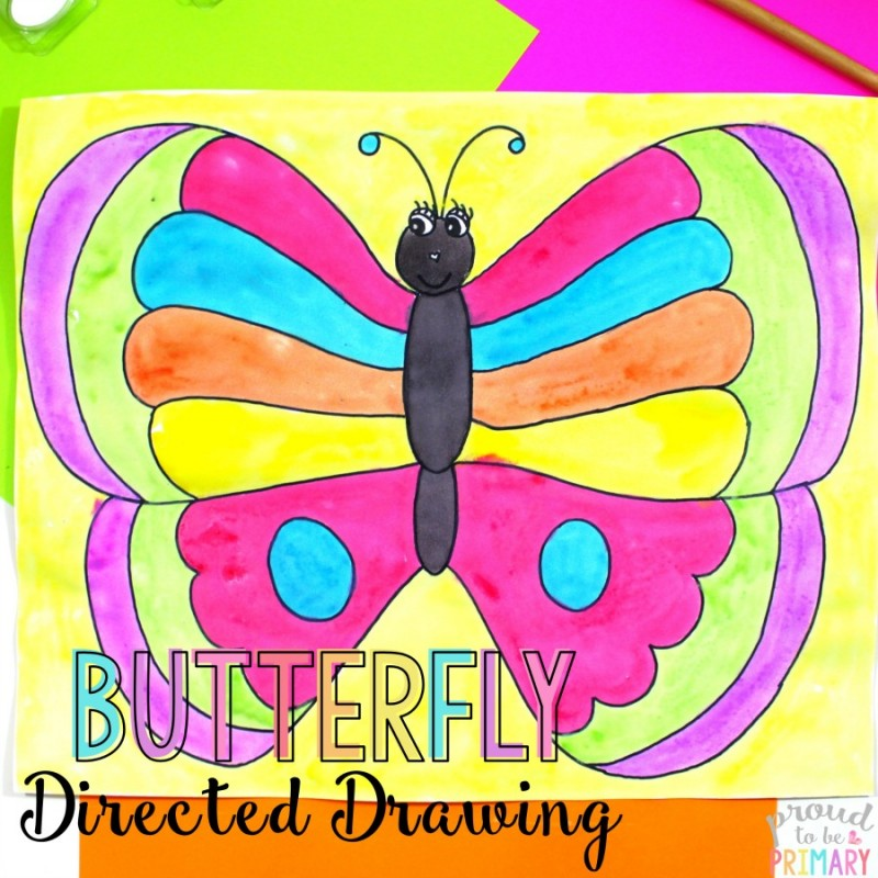 This spring butterfly directed drawing is the perfect art activity for spring. Teachers can find a step-by-step lesson that Kindergarten and primary kids will love! {FREE directions included} #directeddrawing #butterfly #butterflyart #springactivities #springcrafts #springart #artforkids #teacherfreebie