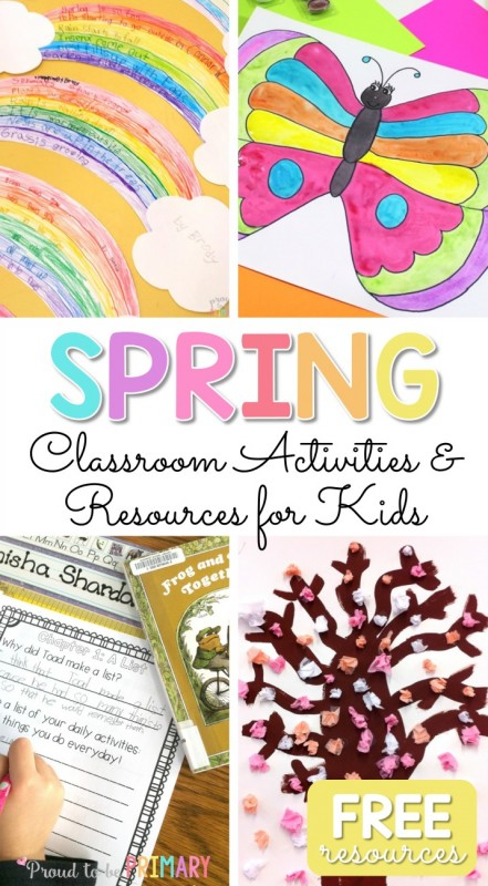 Spring activities for kids, including ideas for teaching art, poetry, literacy and life sciences. Check out the spring book and video list and grab FREE spring resources! #spring #springactivities #springart #springcrafts #craftsforkids #artforkids #teacherfreebie