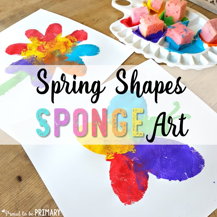Simple Spring Art Idea: Shapes Sponge Art