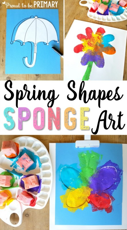 Check out this spring shapes sponge art hands-on activity for children with a few simple materials. Create a beautiful spring display for your classroom and home from sponge painting different shapes! #spring #springactivities #springart #springcrafts #craftsforkids #artforkids