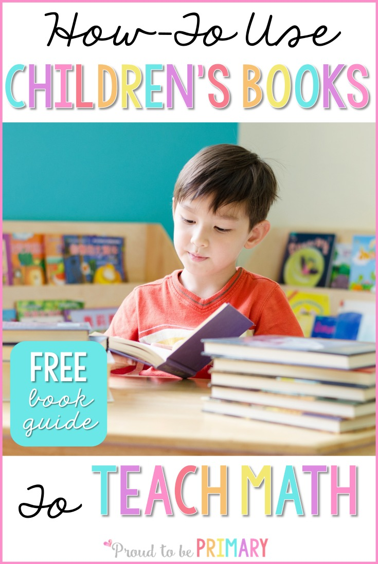 Here is a list of the BEST children's books for teaching math in primary. Teachers should use children's literature to teach and support math lessons. Grab a FREE printable book guide to the BEST math books for kids! #mathforkids #mathbooksforkids #booksforkids #teacherfreebie #firstgrademath #mathactivitiesforkids