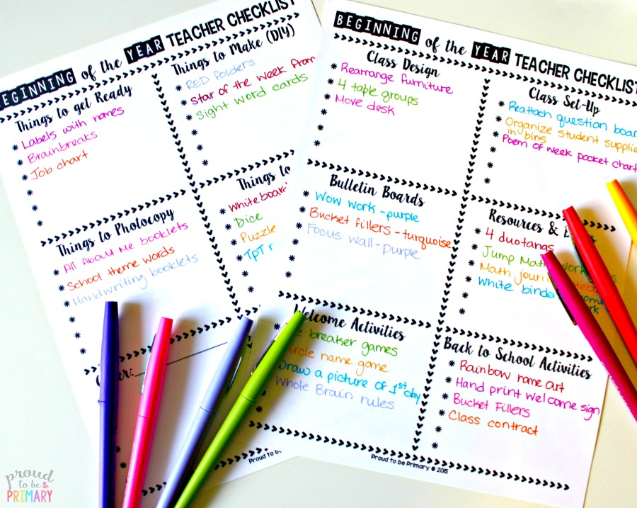 beginning of the year new teachers checklist