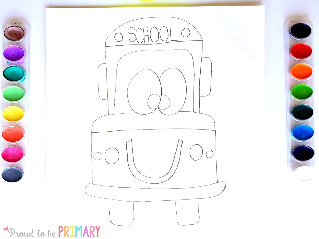 school bus drawing step 4