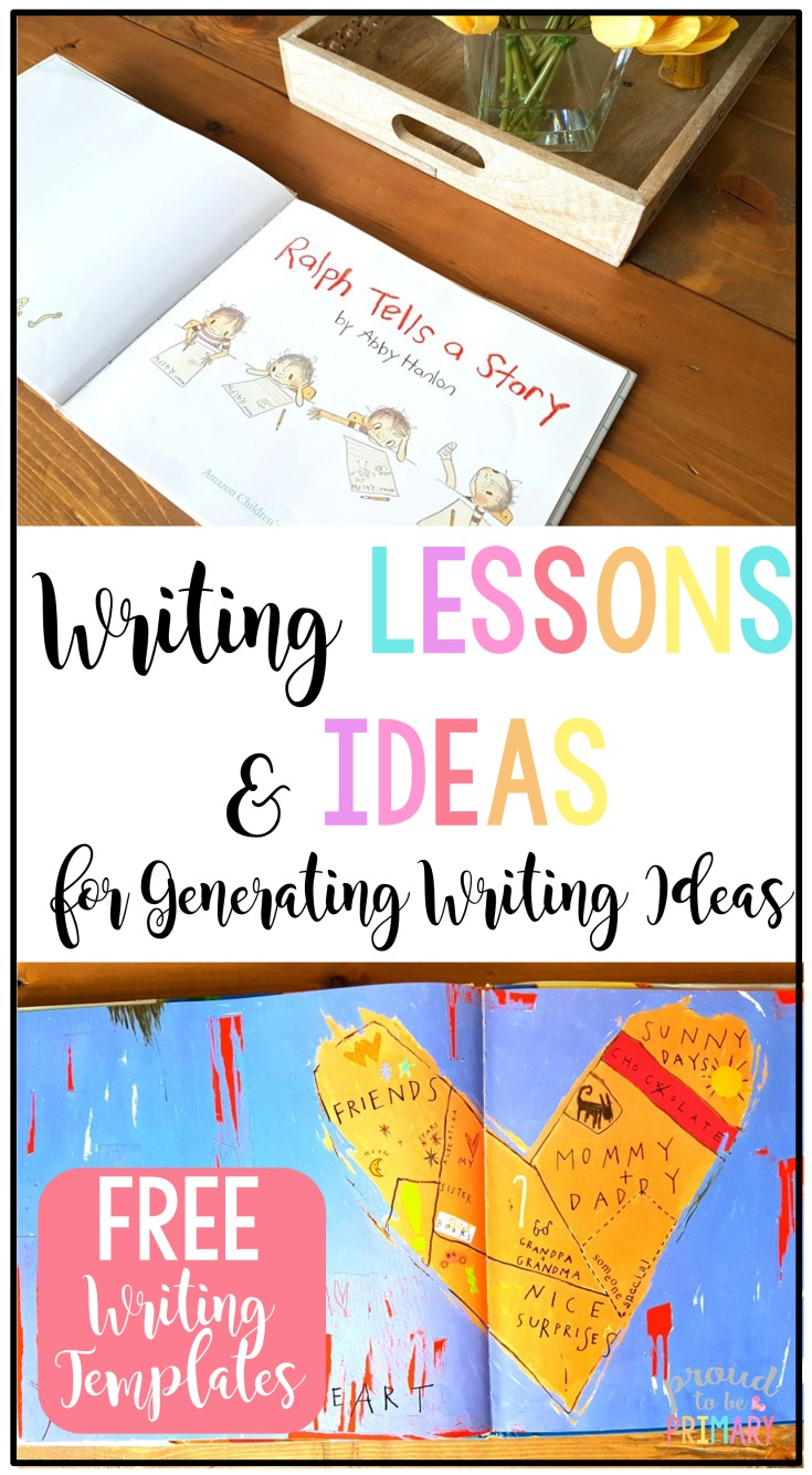 Teachers, ever have students struggle with coming up with writing topics? This post includes writing lessons and books for generating ideas. Grab the FREE writing templates to help kids get their ideas writing down and ready for writer's workshop. #writersworkshop #writingcenter #teachingwriting #creativewriting #kidwriting #writingprintables #booksforkids