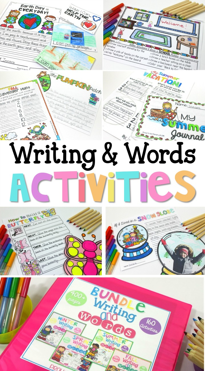 The ultimate writing resource includes many writing topics and styles. Writing and words activities for the entire year from Proud to be Primary