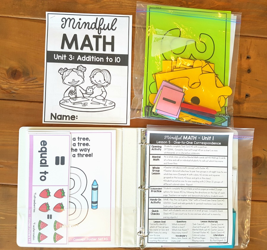 mindful math program binder covers