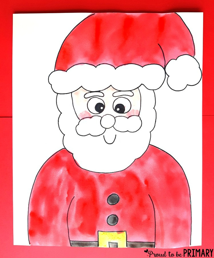 Decorate your home and classroom bulletin board this Christmas with the Santa Claus directed drawing art activity for kids. Grab the easy DIY step by step drawing instructions for FREE. #santaclaus #artforkids #santaactivities #xmasactivities #kidart #directeddrawing