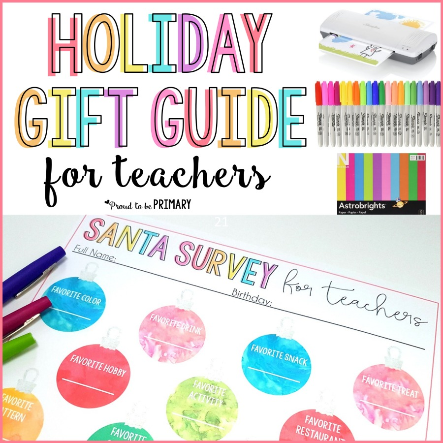 This holiday gift guide for teachers includes inexpensive gift ideas and stocking stuffers for those on a budget. They make the perfect gifts for kids to give their hard working educators at Christmas. Grab the FREE printable Santa survey and find out what is on your teacher's wishlist! #teachergifts #holidaygiftguide #christmasgifts #santasurvey