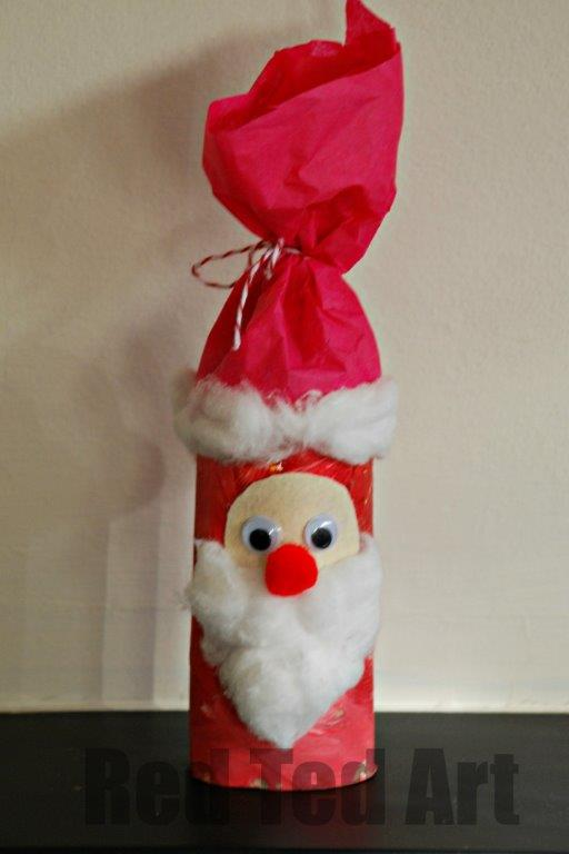 santa toilet paper roll red ted art