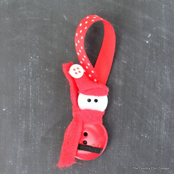 santa button craft ornament - the country chic cottage