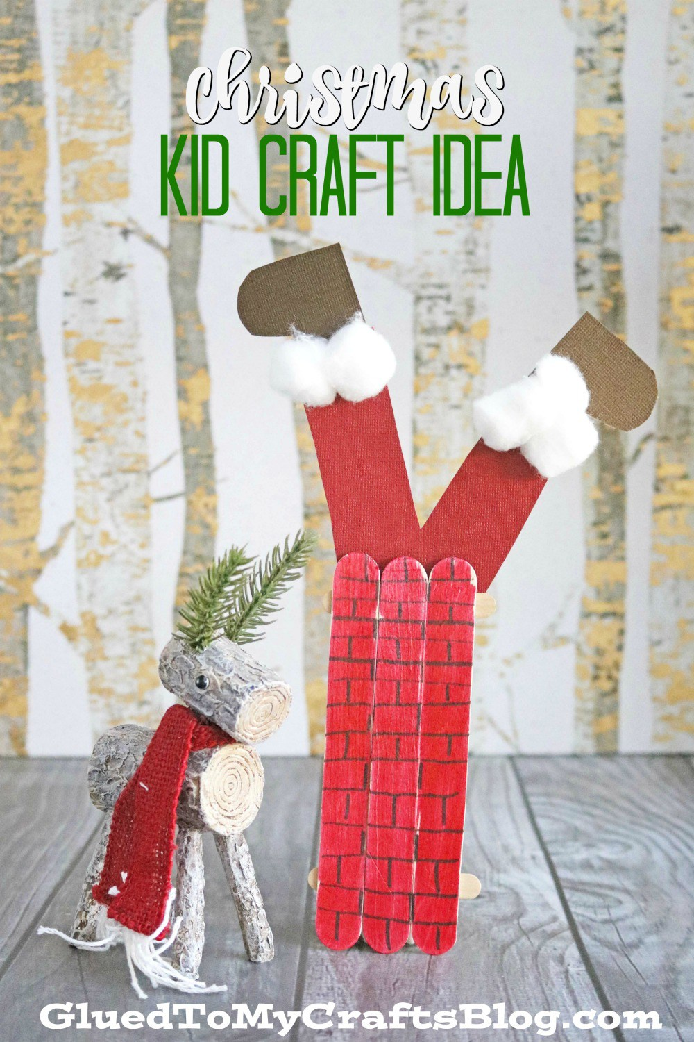 popsicle stick santa stick in my chimney - glues to my crafts