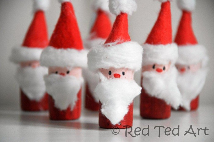 santa corks ornaments red ted art