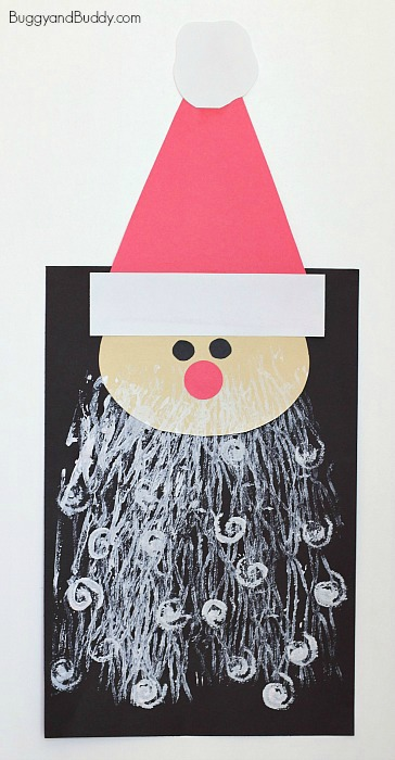 santa craft for kids with printed beards - buggy and buddy