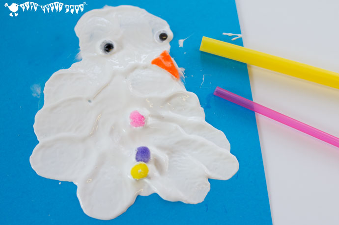 melting snowman blow painting - kids craft room