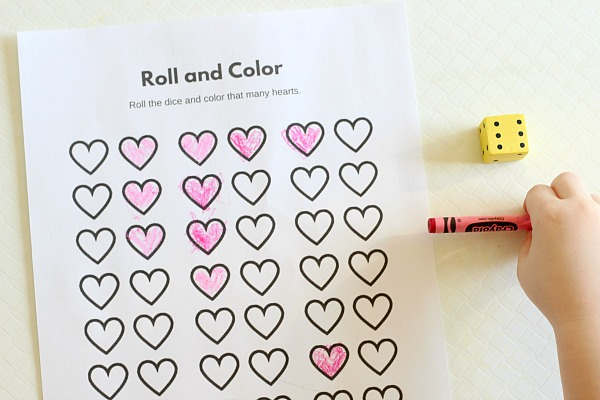 Mom Inspired Life - Roll and Color Valentines Day Counting Game